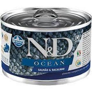 Lata N&D Ocean Salmao e Bacalhau para Caes 140g