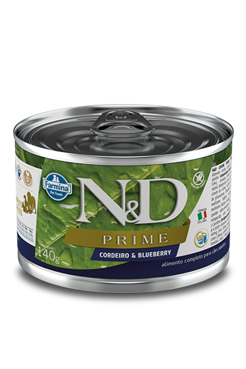 Lata N&D Prime Cordeiro e Blueberry para Caes 140g