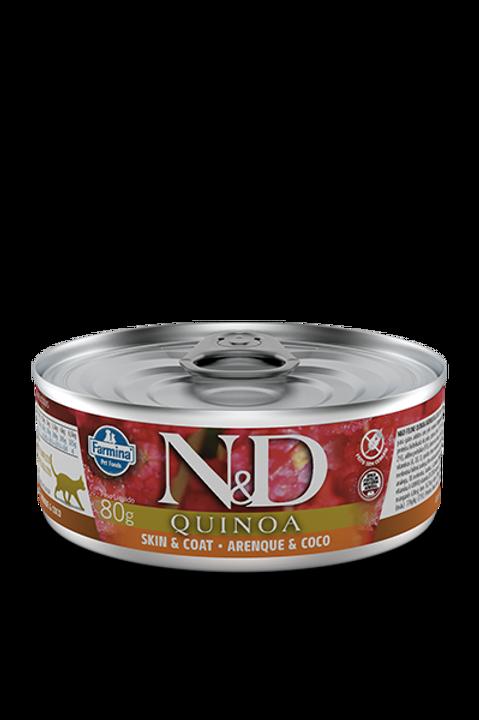 Lata N&D Quinoa Skin & Coat Arenque e Coco para Gatos 80g