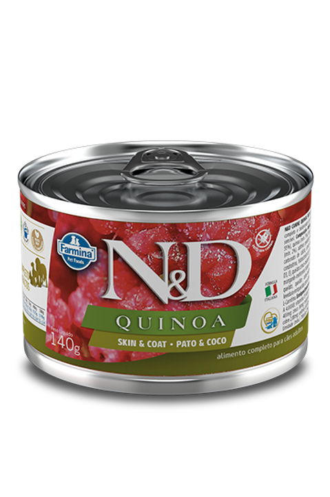 Lata N&D Quinoa Skin & Coat Pato e Coco para Caes 140g