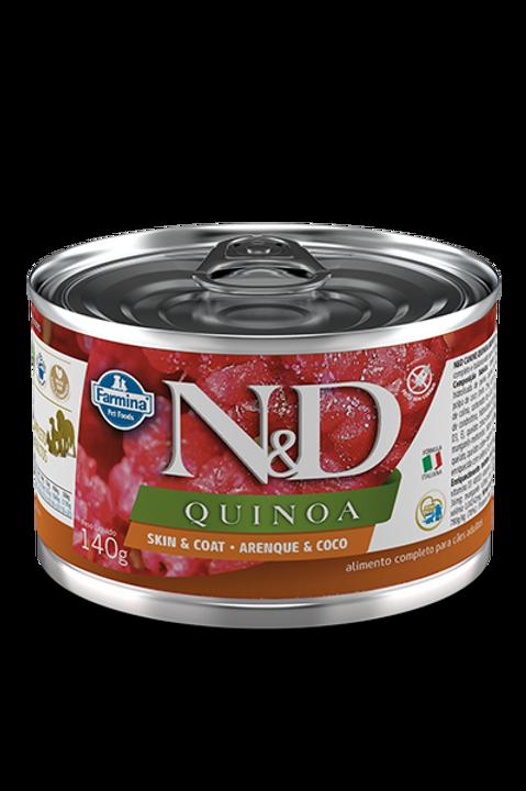 Lata N&D Quinoa Skin & Coat Arenque e Coco para Caes 140g