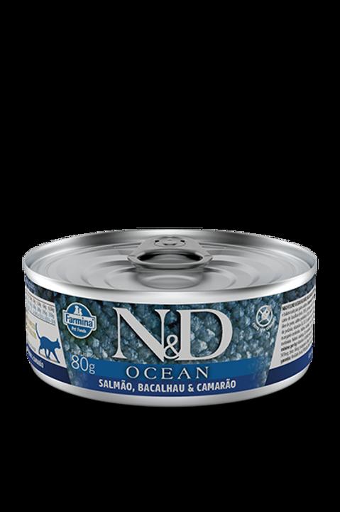Lata N&D Ocean Salmao, Bacalhau e Camarão para Gatos 80g