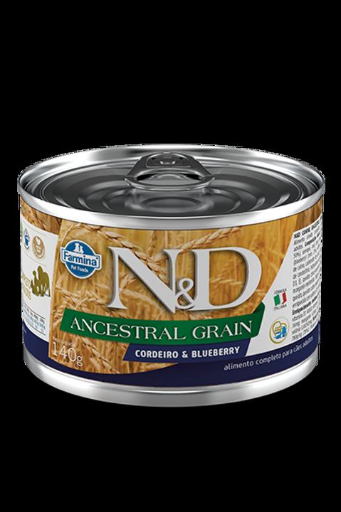 Lata N&D Ancestral Cordeiro e Blueberry para Caes 140g