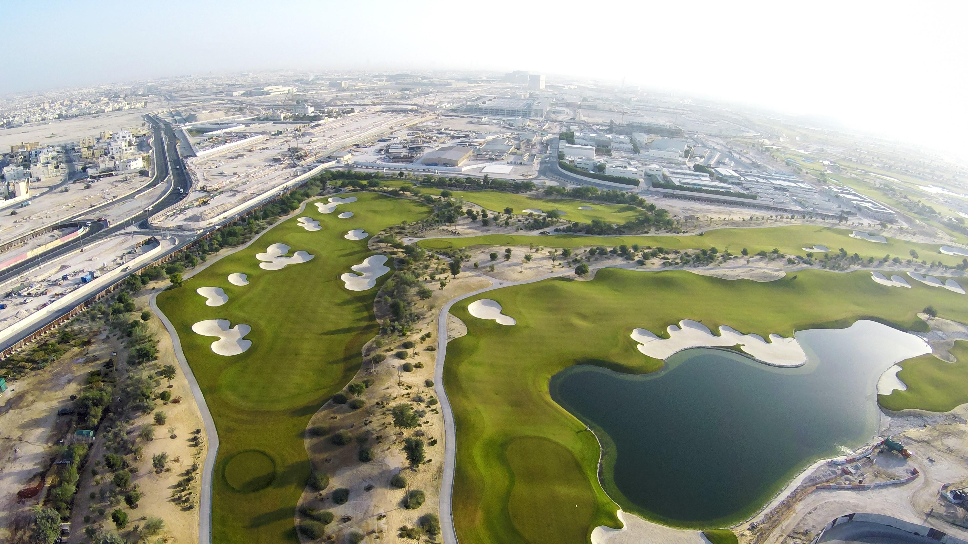 Drone View of Holes 13 14 15 16 at Qatar International Golf Club