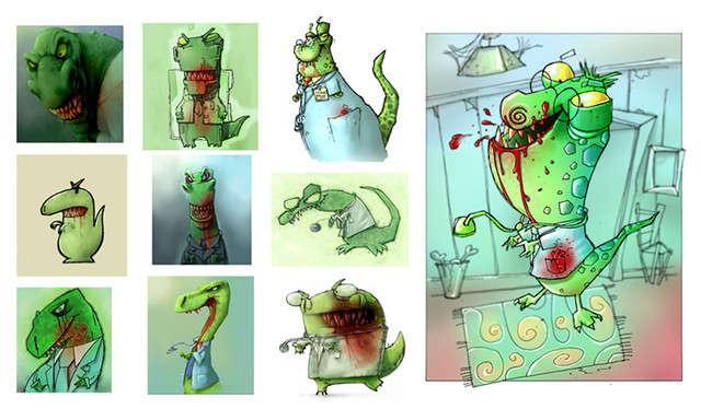 Doctor Inosaur character style concepts.