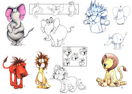 "Concept art for ""Shoebox Zoo"" TV series."