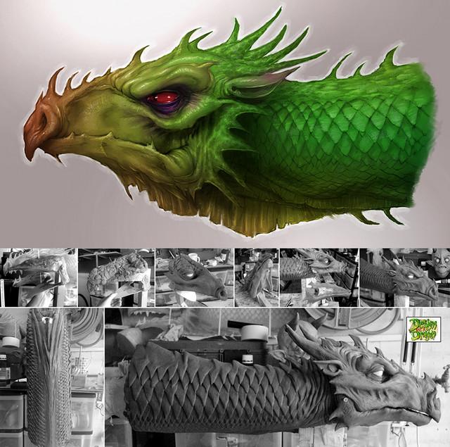 Dragon concept art and sculpt for puppet