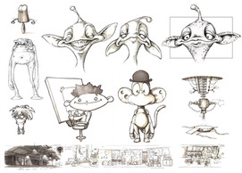 Concept art for BBC Charactershop promo.
