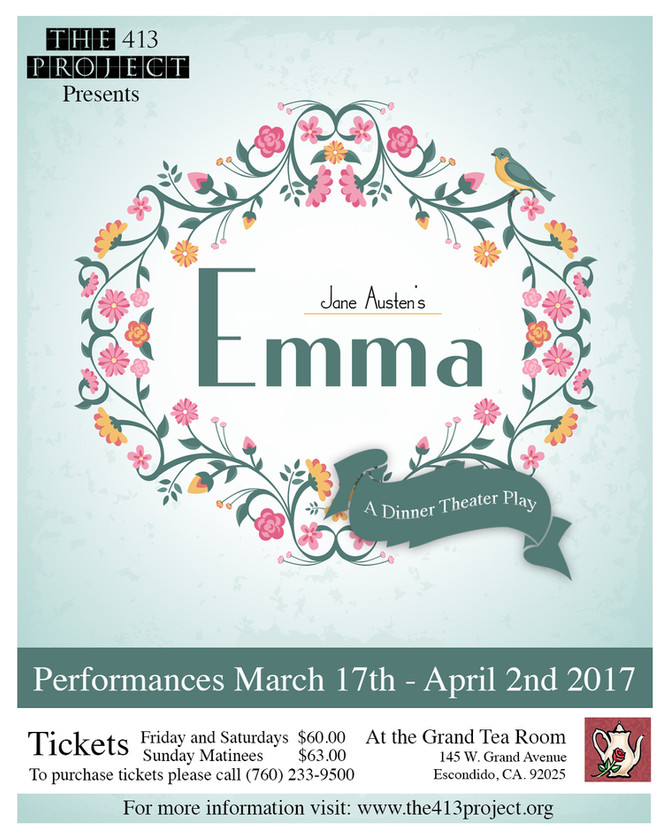 "Jane Austen's ""Emma"" dinner theater performances coming this Spring!"