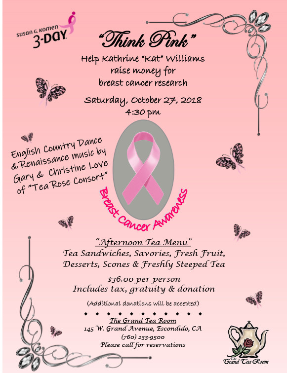 The Grand Tea Room to Hose Breast Cancer Awareness Fundraiser!