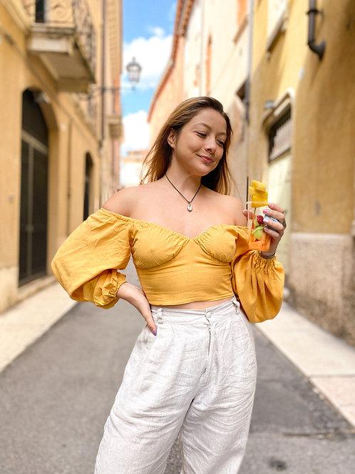 Cropped Bufante Amarelo