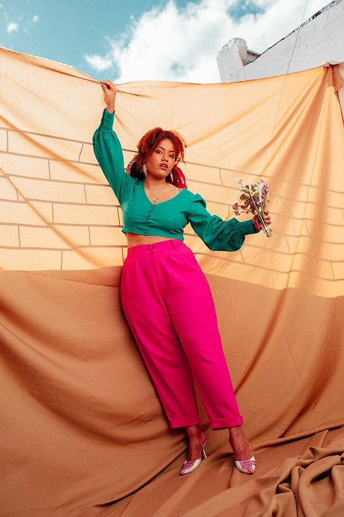Calça Alfaiataria Pink em Linho
