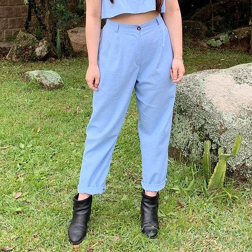 Calça Alfaiataria Azul em Linho