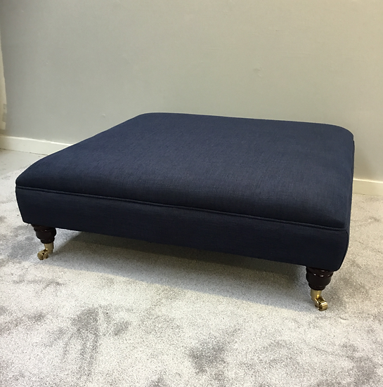 Extra Large Flat Top Footstool -  Basket Weave Colorado  Navy Ottoman
