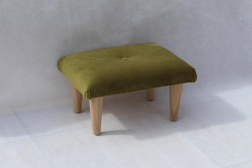 Small Moss Green Velvet Footstool- Foot Rest