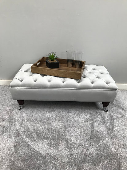 Large Chesterfield  Footstool -  Plush Velvet Silver- Coffee Table -Pouffe