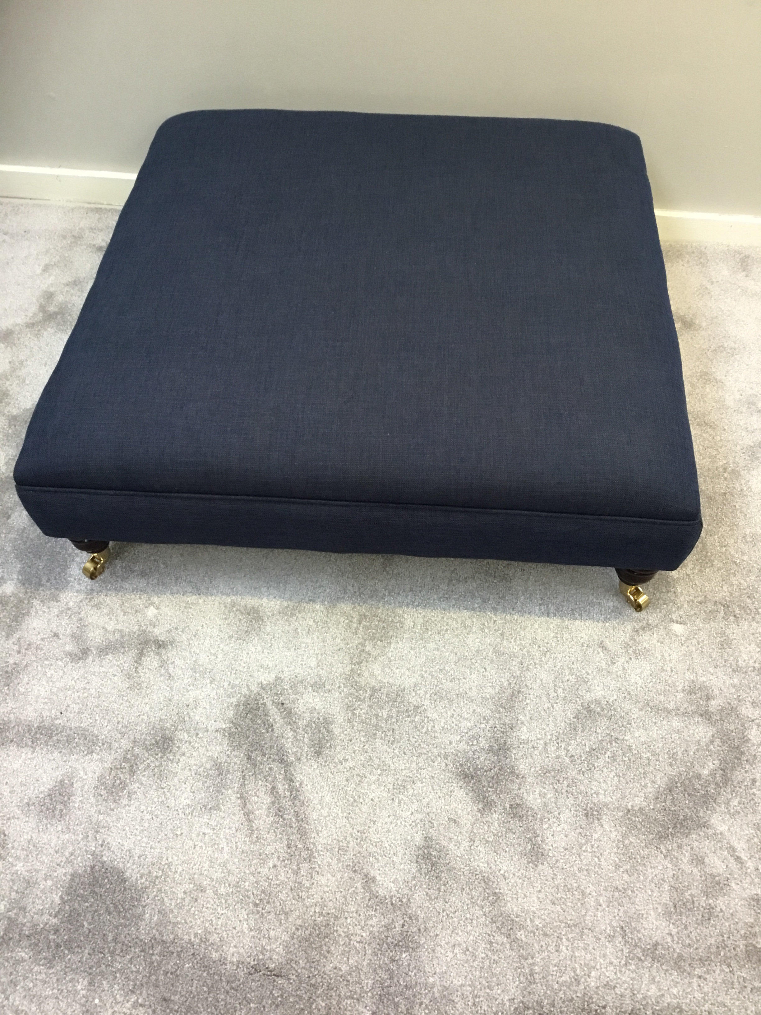 Extra Large Flat Top Footstool Navy Blue Linen Fabric Coffee