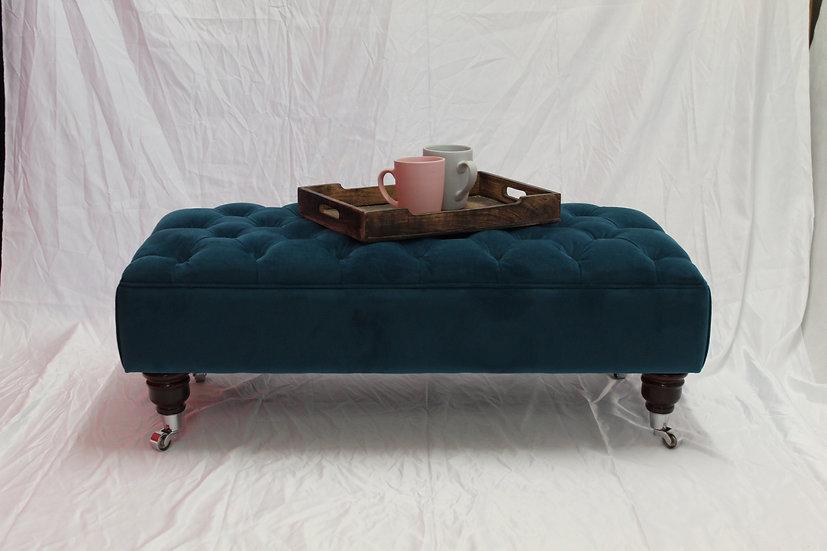 Large Chesterfield Footstool -  Plush Velvet Mallard - Coffee Table
