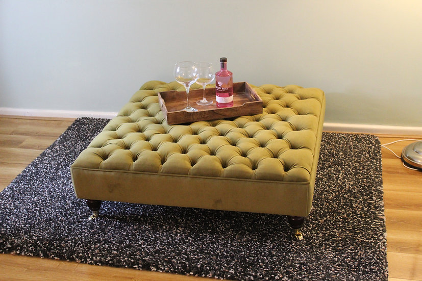 Extra Large Chesterfield Footstool -  Plush Velvet Moss Ottoman