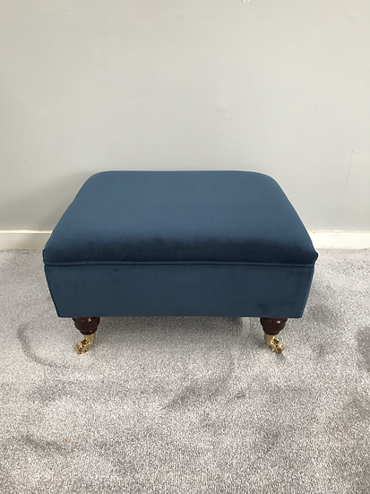 Mini Flat Top footstool Footstool -  Plush Velvet Teal Ottoman