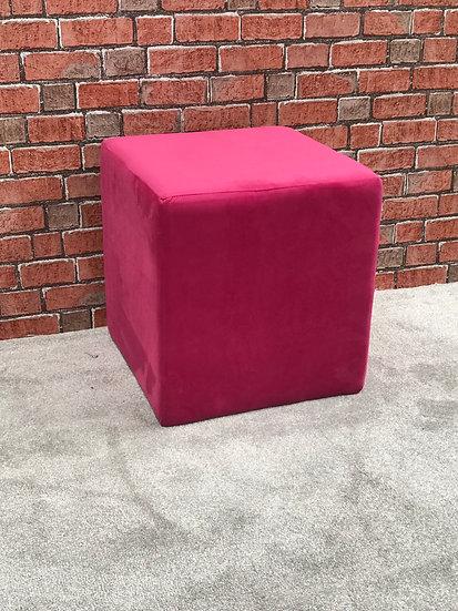 Cube Footstool - Warwick Fabrics Plush Velvet Peony - Dressing Stool