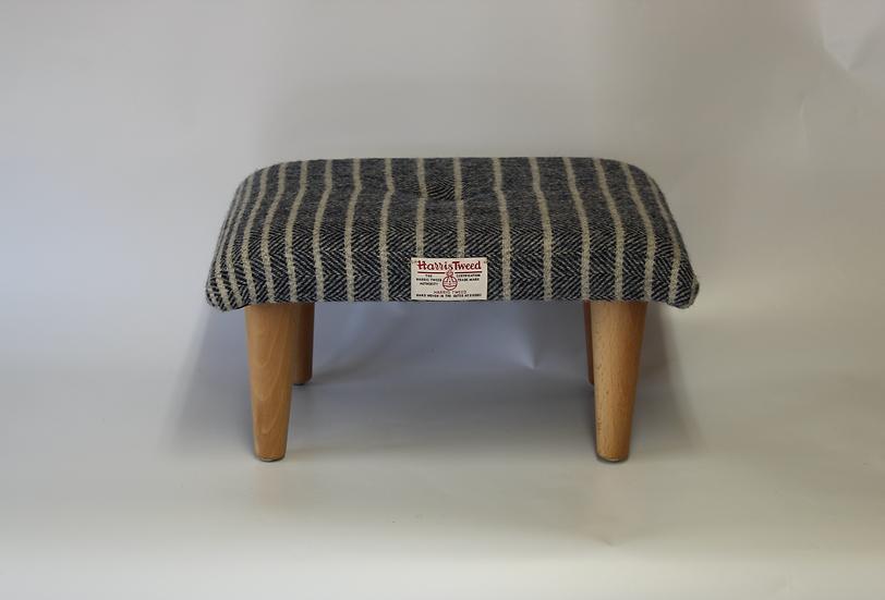Small Navy Harris Tweed Footstool - Foot Rest - Ripple Fabric