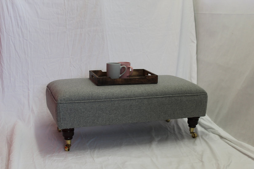 Large Flat Top  Footstool -  Xanthe Ghost Fabric- Coffee Table -Pouffe