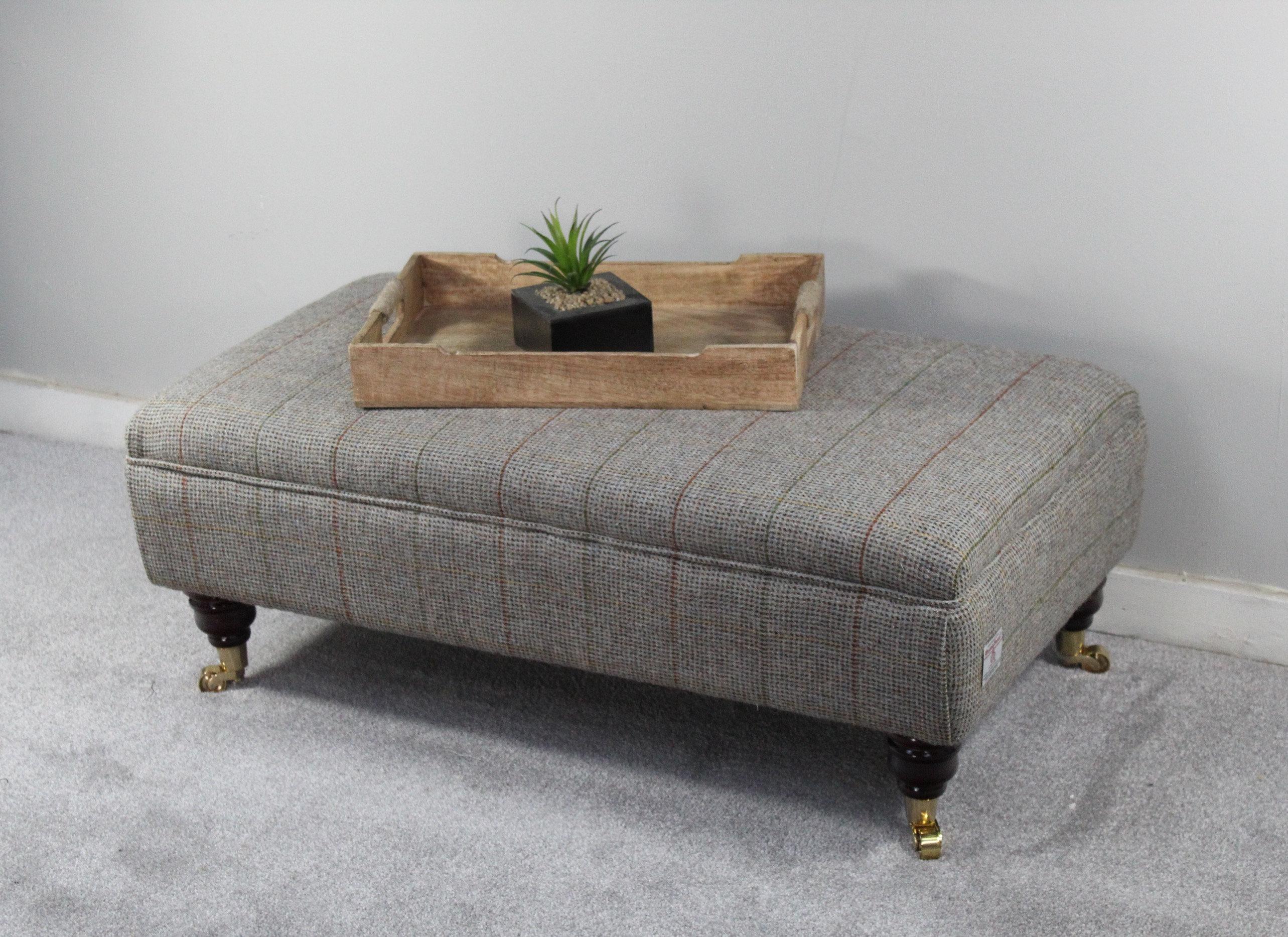Harris Tweed Footstool Coffee Table Corncrake Tweed