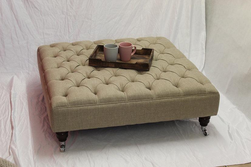 Deep Buttoned Linen Oatmeal  Fabric Footstool - Chesterfield Ottoman