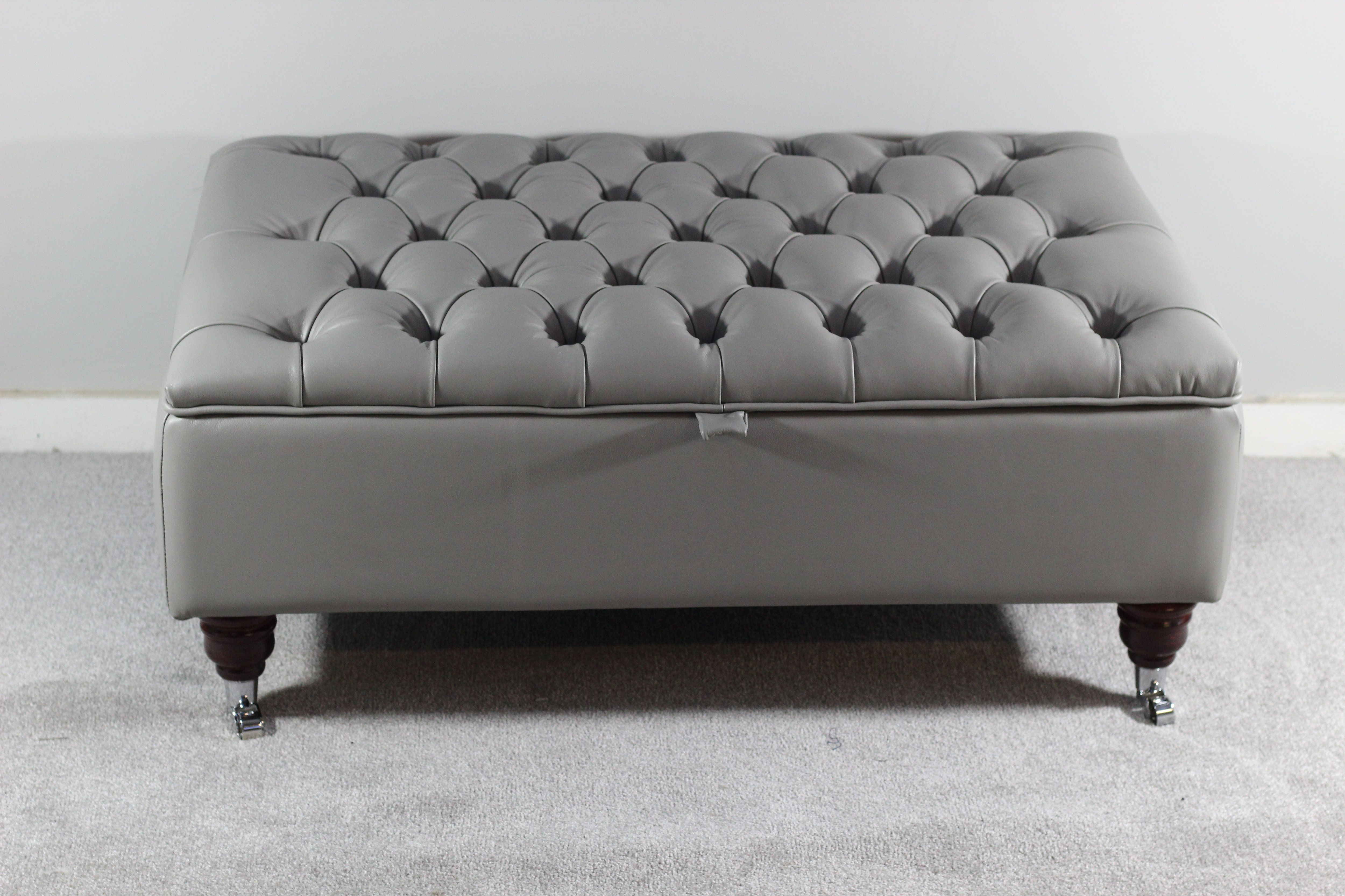 Large Chesterfield Storage Ottoman Fossil Grey Leather