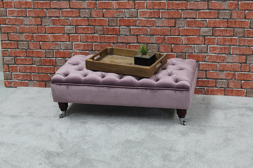 Large Chesterfield  Footstool - Mystic Lavender Fabric- Coffee Table -Pouffe