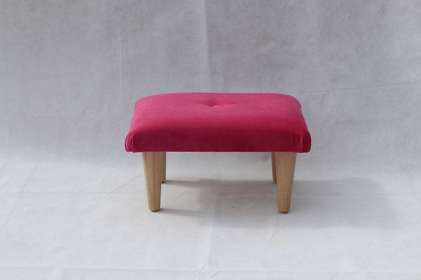 Peony Pink Velvet Footstool - Small Stool