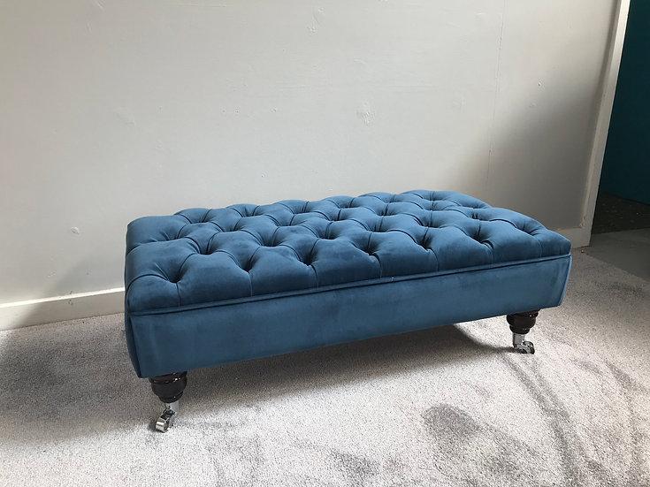 Large Chesterfield Footstool -  Plush Velvet Teal - Coffee Table