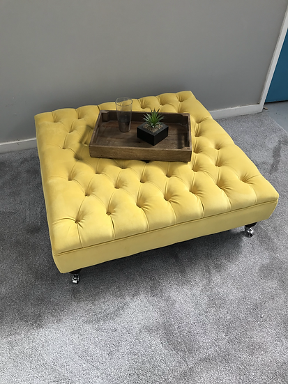Extra Large Chesterfield Footstool -  Plush Velvet Daffodil Ottoman