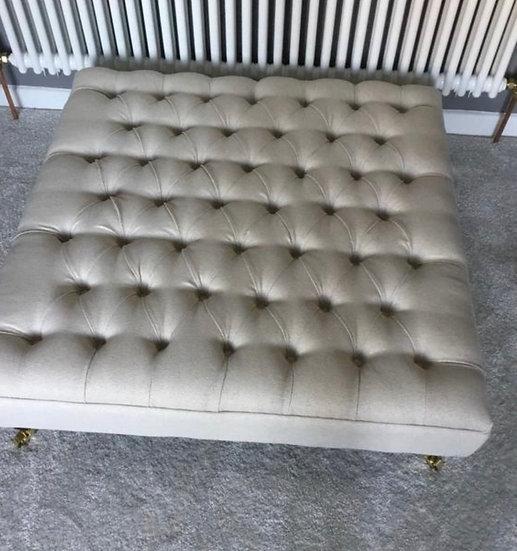 Deep Buttoned Linen Fabric Footstool - Chesterfield Ottoman