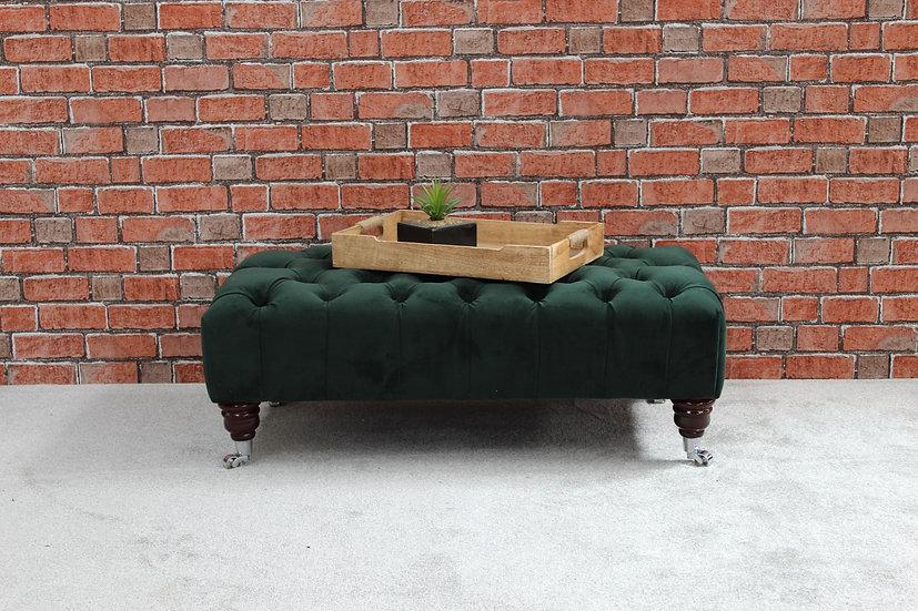 Large Pleated Chesterfield Footstool - Plush Velvet Hunter - Coffee Table