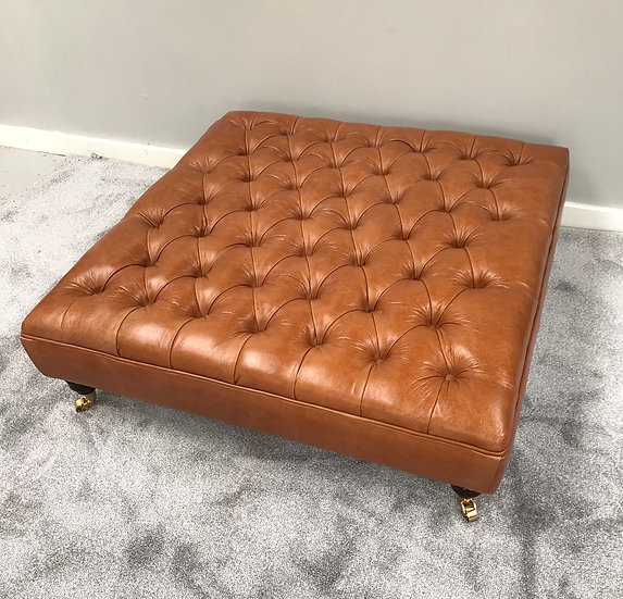Extra Large Deep Buttoned Leather Footstool - Upholstered Coffee Table