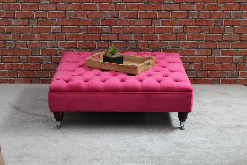 Extra Large Chesterfield Pink Footstool -  Plush Velvet -Peony