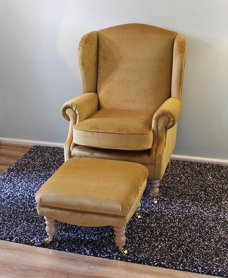 Turmeric Velvet Wing Chair - Fireside Arm Chair - Kingsbury Chair
