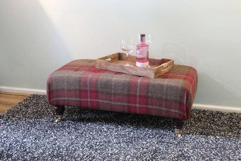 Large Pulled Button Footstool in 100%Wool Plaid Fabric