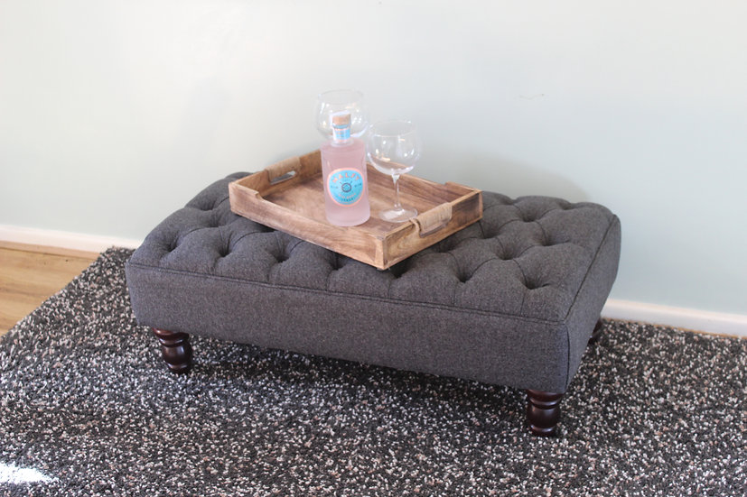 Large Chesterfield  Footstool -  Xanthe Slate Fabric- Coffee Table -Pouf