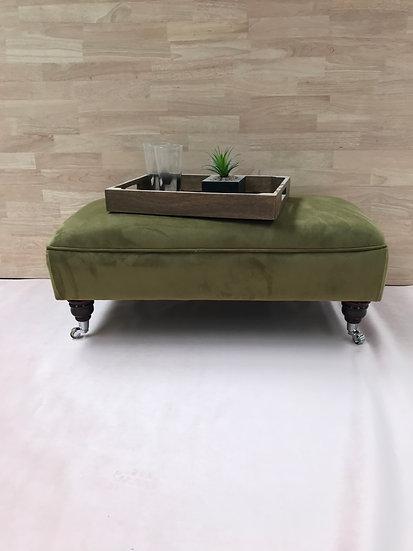 Large Flat Top Footstool -  Plush Velvet Moss - Coffee Table -Pouffe