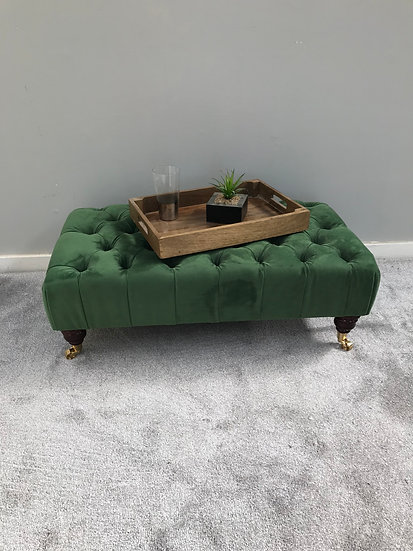 Large Pleated Chesterfield Footstool - Plush Velvet Shamrock - Coffee Table