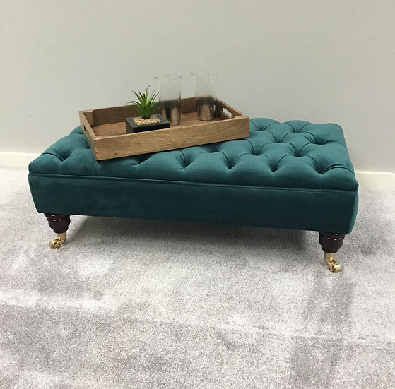 Large Chesterfield  Footstool -  Plush Velvet Kingfisher- Coffee Table -Pouffe