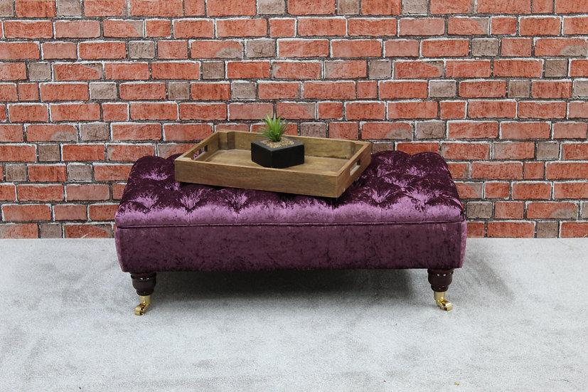 Large Chesterfield Ottoman - Purple Bespoke Deep Buttoned Footstool