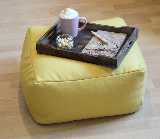 Amatheon Sunshine Floor Cushion - Square Cushion - Woolen Bean Bag Seat