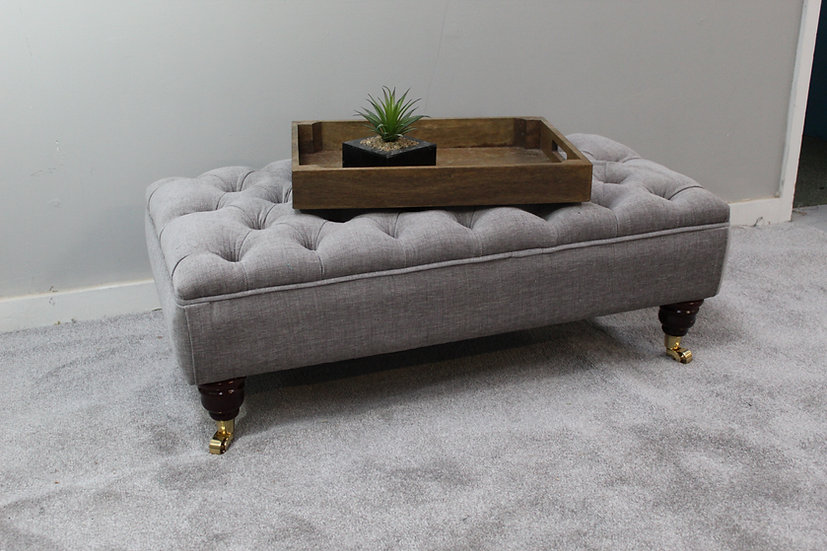Large Chesterfield Chenille  Footstool -  Rouen Cloud - Coffee T