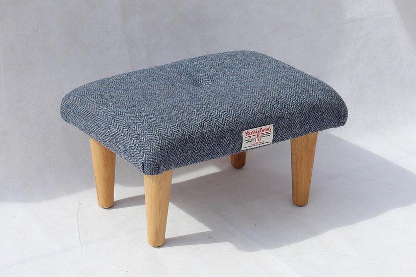 Small Navy Harris Tweed Footstool - Foot Rest