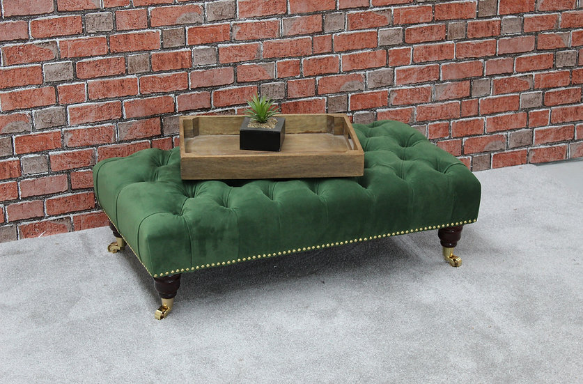 Large Studded Pleated Chesterfield Footstool - Plush Velvet Shamrock