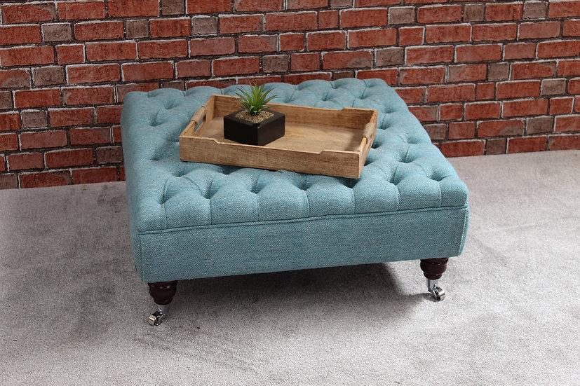 Harris Tweed Chesterfield Footstool Coffee Table - Luskentyre Herringbone